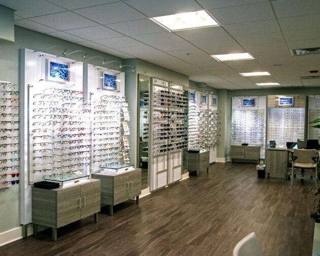 Glasses displayed on the walls of Simon Eye Newark.