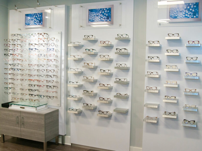 Glasses on wall mounted displays.